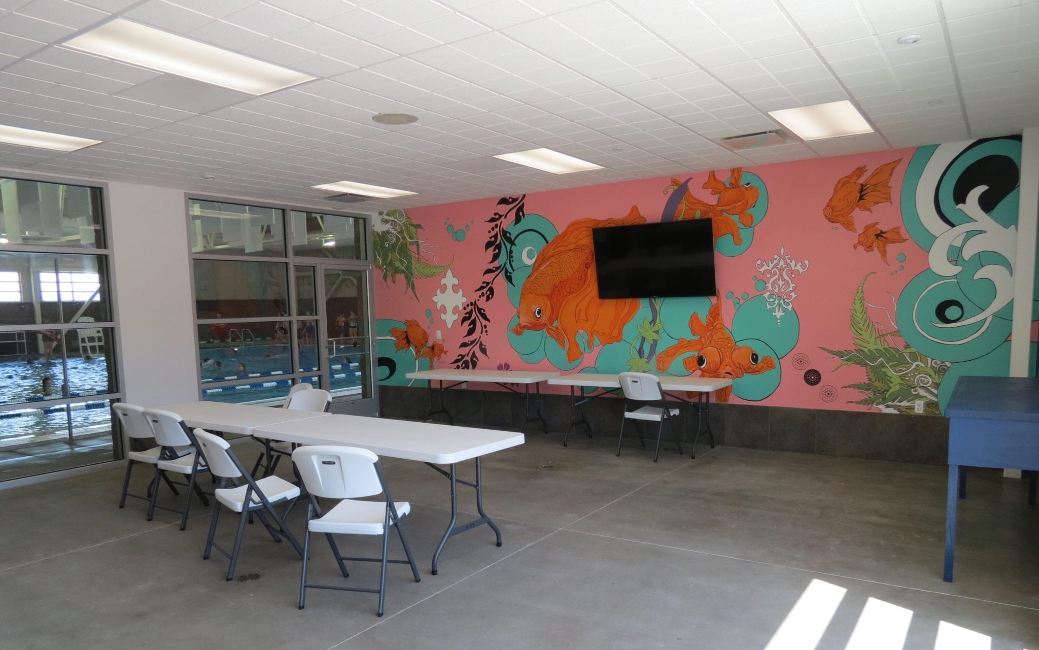 Party room mission valley aquatics for Rent a center living room groups